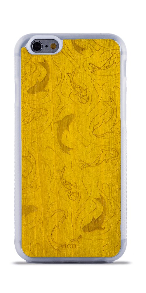 Funda iPhone 6 y 6S de Madera Real Amarillo + Silicona TPU Híbrido, carcasa color transparente, ligera y protección 360º