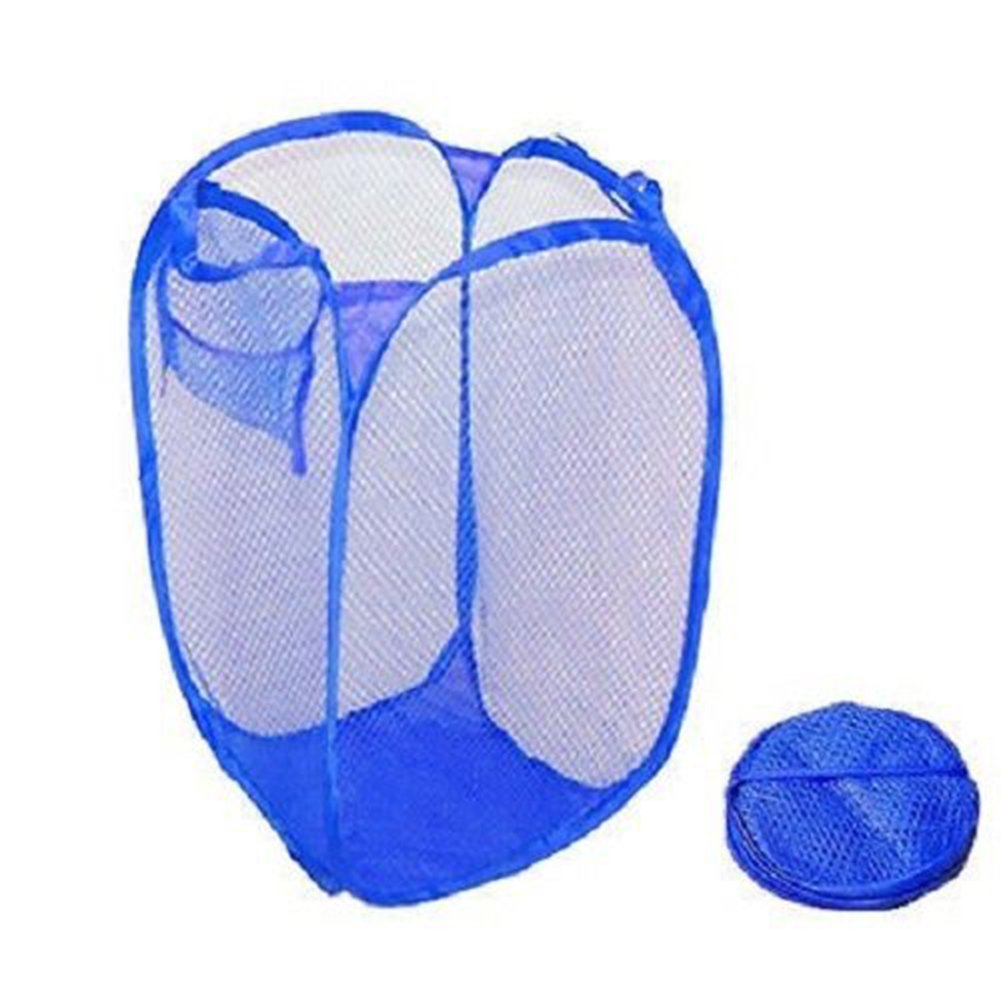 Laundry Bag Pop Up Mesh Washing Foldable Laundry Basket Bag Bin Hamper Storage - Navy Blue SoundsBeauty