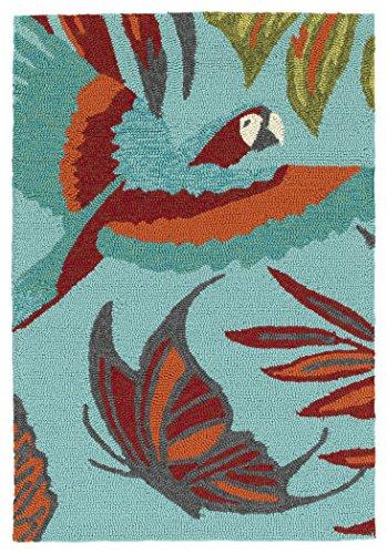 Kaleen Rugs Yunque Collection YUN02-17 Blue 2' x 3' Indoor/Outdoor, Handmade Rug (Rug Target Orange)