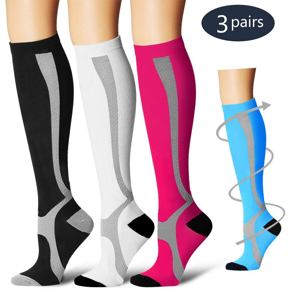 BLUETREE Compression Socks,(3 Pairs) Compression Sock Women & Men - Best Running, Athletic Sports, Crossfit, Flight Travel(Multti-colors12-L/XL)
