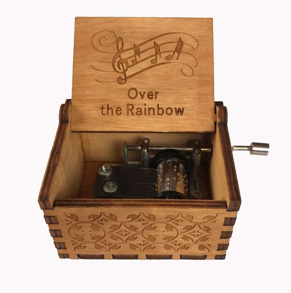 Sobre El tallado del arco iris caja de música Manivela caja de música antigua de la caja decorativa Ideal para cumpleaños, Día de la Madre, Navidad, Día del Padre y regalos del día de San Valentín