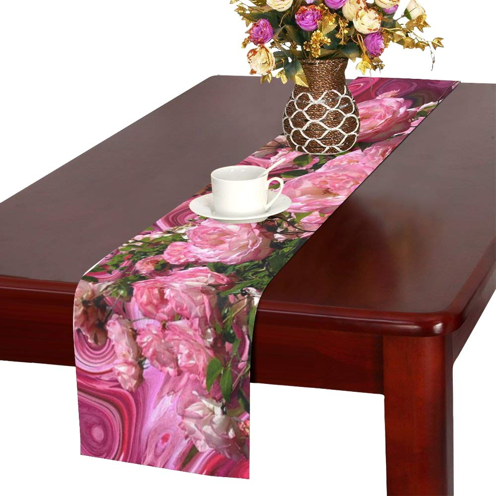 Jnseff Roses Love Red Pink Romantic Blossom Bloom Table Runner, Kitchen Dining Table Runner 16 X 72 Inch For Dinner Parties, Events, Decor