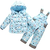 LPATTERN Unisex Baby Toddler Winter Snowsuit Cartoon Ski Snowpants Bib Down Coat Hooded Puffer Jacket 2 Piece Set Outfit