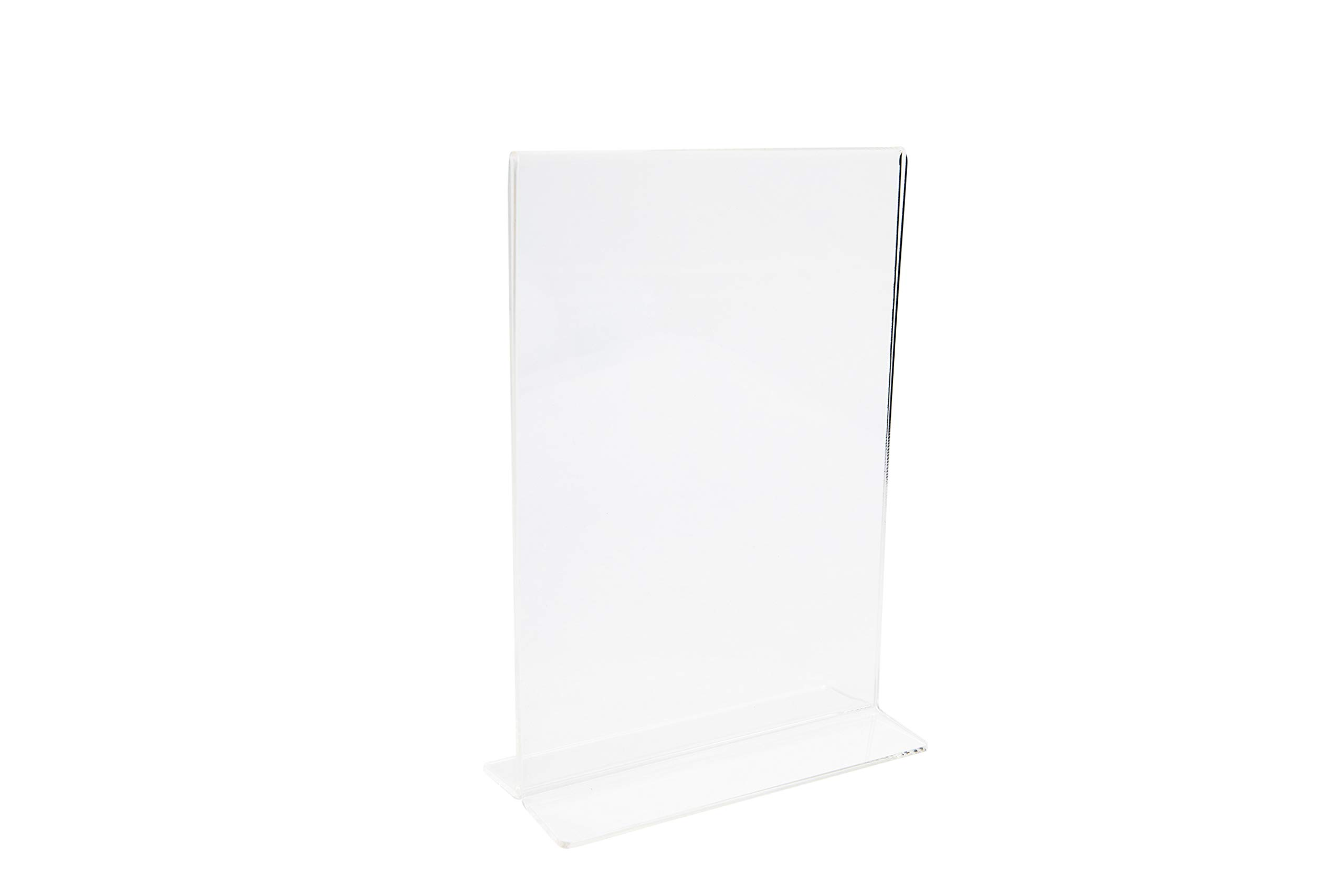 Premium Acrylic Sign Holder By Kala Concepts, Durable & Sturdy Construction, 5x7 Inches Display Area, Thick Top Grade Acrylic Material, Easy Change Of Inserts, Ultra Clear Wipe Clean Holder, 6 Pack