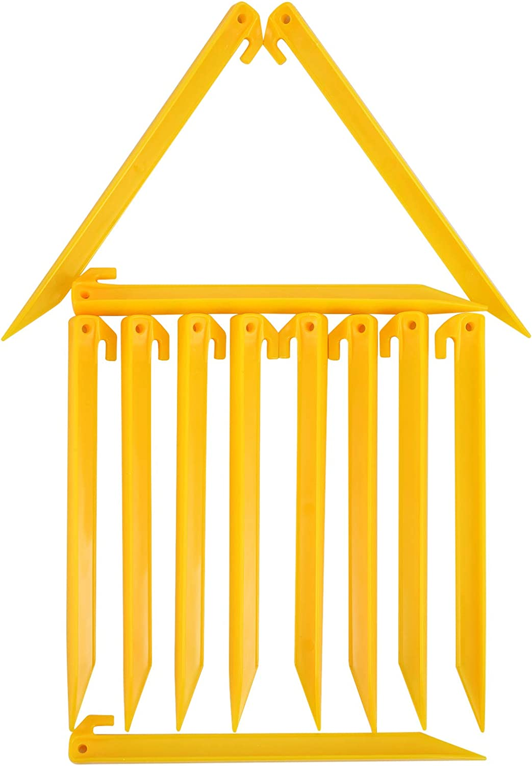 MUDOR 12 Inch Plastic Tent Stakes -12 pcs Heavy Duty and Durable Tent Pegs Spike Hook for Campings Outdoor Sand Beach, Sturdy Canopy Stakes Accessories, Garden Lawn Stakes