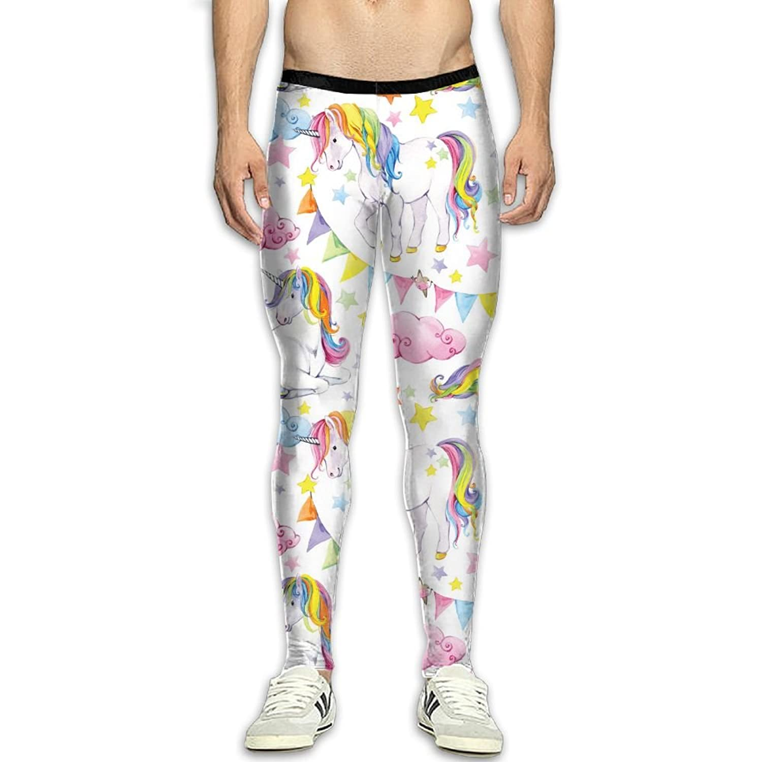 a11bdca83afe1 JJP1CO Men's Compression Pants Rainbow Unicorn 3D Print Baselayer Cool Dry  Sports Thermal Tights Running Fitness
