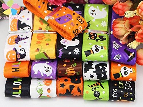12yards/lot(Randomly mixed) 25mm Halloween Pattern Grosgrain Ribbon