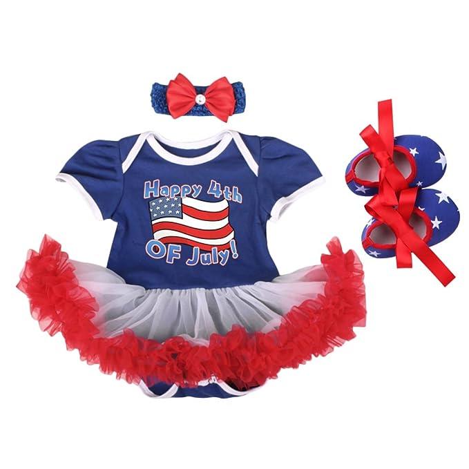 3bbc825c50b1b 4th of July Outfits Baby Girl 2Pcs/3Pcs Set Tutu Romper Dress up American  Flag Princess One-Piece Bodysuit Headband Shoes