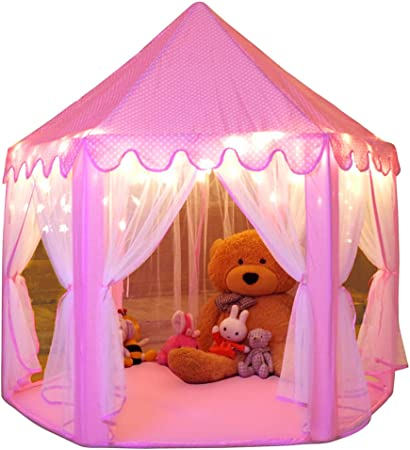 Monobeach Princess Castle Tent Girls Large Playhouse Kids Play Tent with Star Lights Toys for Children Indoor and Outdoor Games, 55'' x 53'' (DxH)