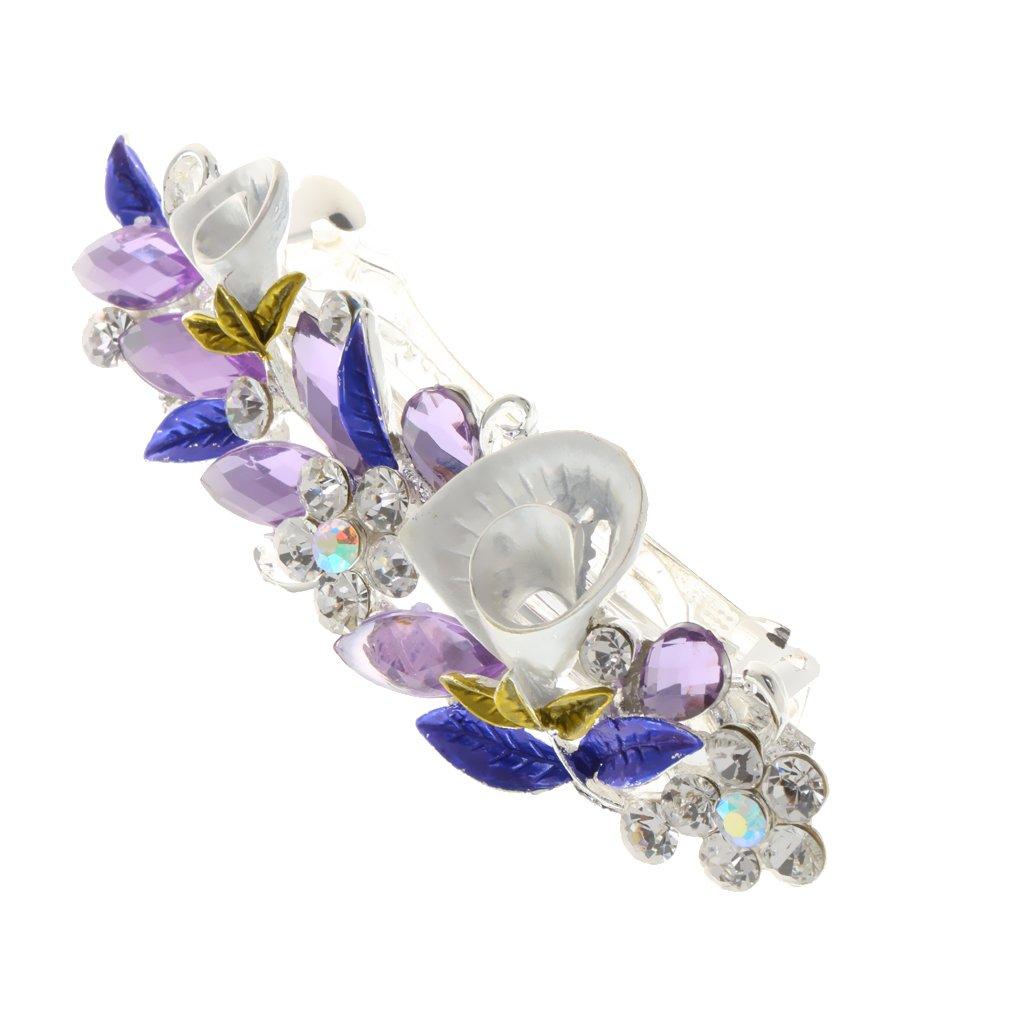 Femmes Pince à Cheveux de Fleur en Strass Cristal Barrettes Epingle Fantaisie pour Décor de Soirée Party Mariage - Bleu Generic