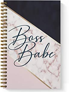 "Softcover Boss Babe 5.5"" x 8.5"" Spiral Notebook/Journal, 120 College Ruled Pages, Durable Gloss Laminated Cover, Gold Wire-o Spiral. Made in The USA"