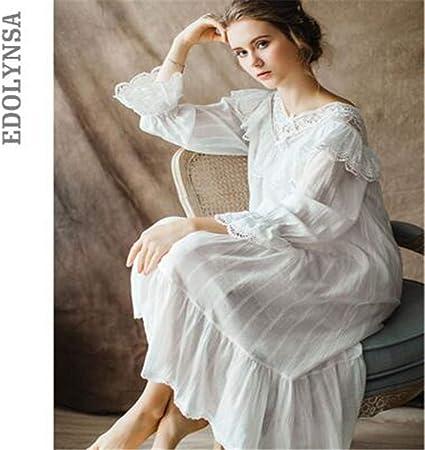 BABIFIS Vestido de Noche Victoriano Vintage gótico de Las Mujeres Blanco algodón Manga Flare con Cuello en V de Encaje Adornado con Volantes Dobladillo camisón M: Amazon.es: Hogar