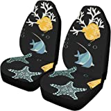 Universal Car Seat Covers Front Seats 2pc Underwater World Beautiful Vehicle Seat Protector Car Mat Covers Full Fit Most Vehicle
