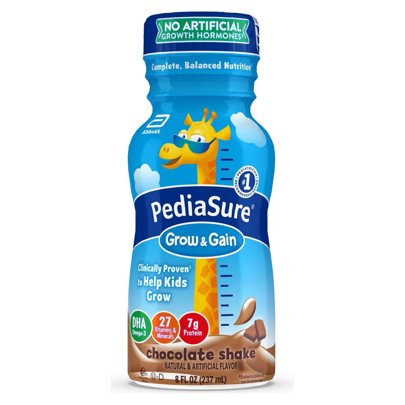 PediaSure Grow & Gain Kids Nutritional Shake, with Protein, DHA, and Vitamins & Minerals, Chocolate, 8 fl oz, 6 Count