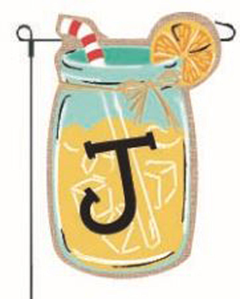 "Home Garden Flags Monogram Lemonade Mason Jar Burlap Summer Garden Flag 12.5 x 18"""