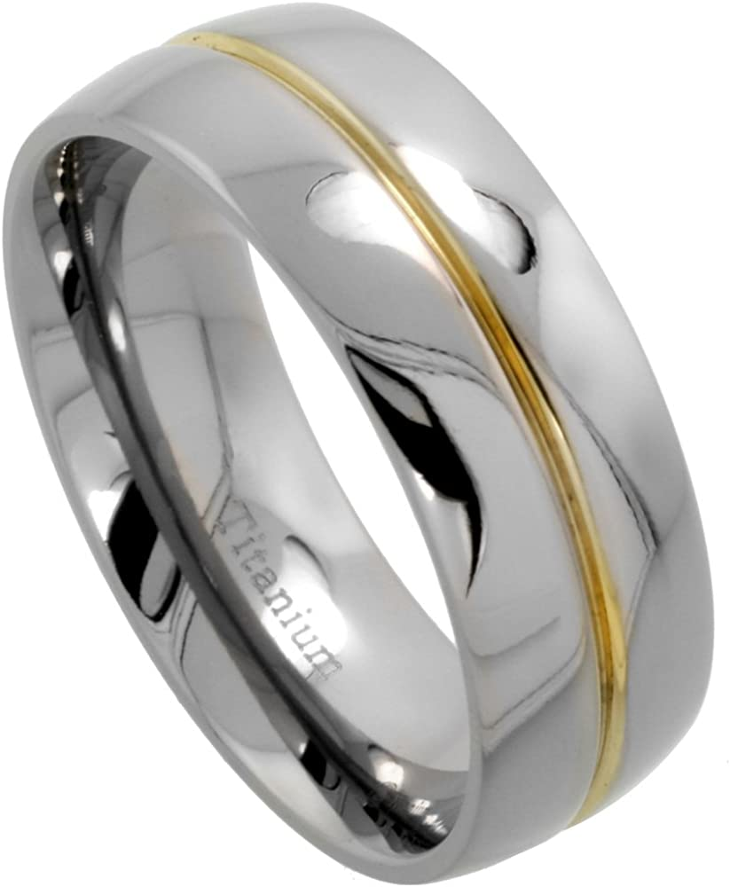 Sabrina Silver 8mm Titanium Wedding Band Gold Grooved Ring Domed Polished Finish Comfort Fit Sizes 7-14.5
