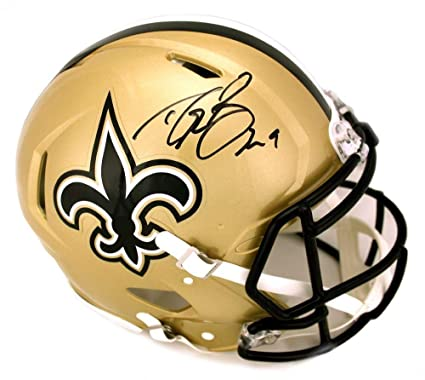ee00511a7 Signed Drew Brees Helmet - Riddell Authentic Speed Full Size - Autographed  NFL Helmets