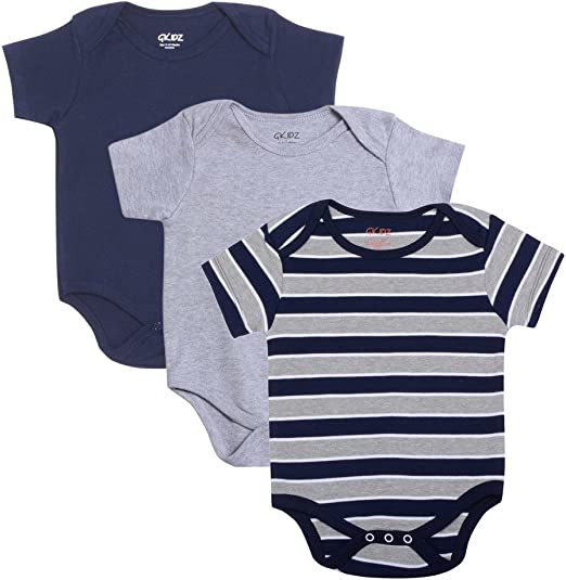 Gkidz Infants Pack of 3 Striped and Solid Colors Half Sleeve Bodysuits (INF-3PCK-SSLV-YD-BDYST-CMB-3_Grey-Navy) at amazon