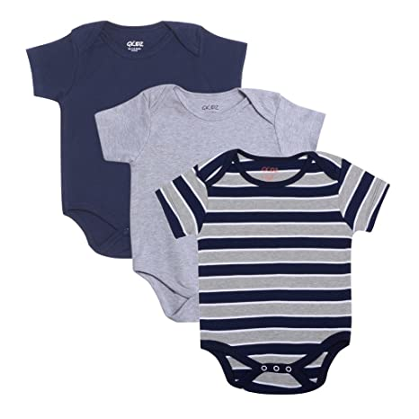 Gkidz Infants Pack of 3 Striped and Solid Colors Half Sleeve Bodysuits (INF-3PCK-SSLV-YD-BDYST-CMB-3_Grey-Navy) Baby Boys at amazon