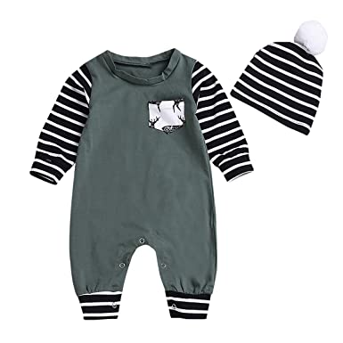 6b44459e074ef puseky Newborn Toddler Baby Boy Girl Long Sleeve Romper+Stripe Hat Beanie Cap  Clothes (