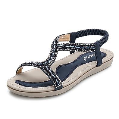 c34dc7af5ad Meeshine Women s Summer Beach Flat Sandals Bohemia Beaded T-Strap  Rhinestone Slip on Sandals Shoes
