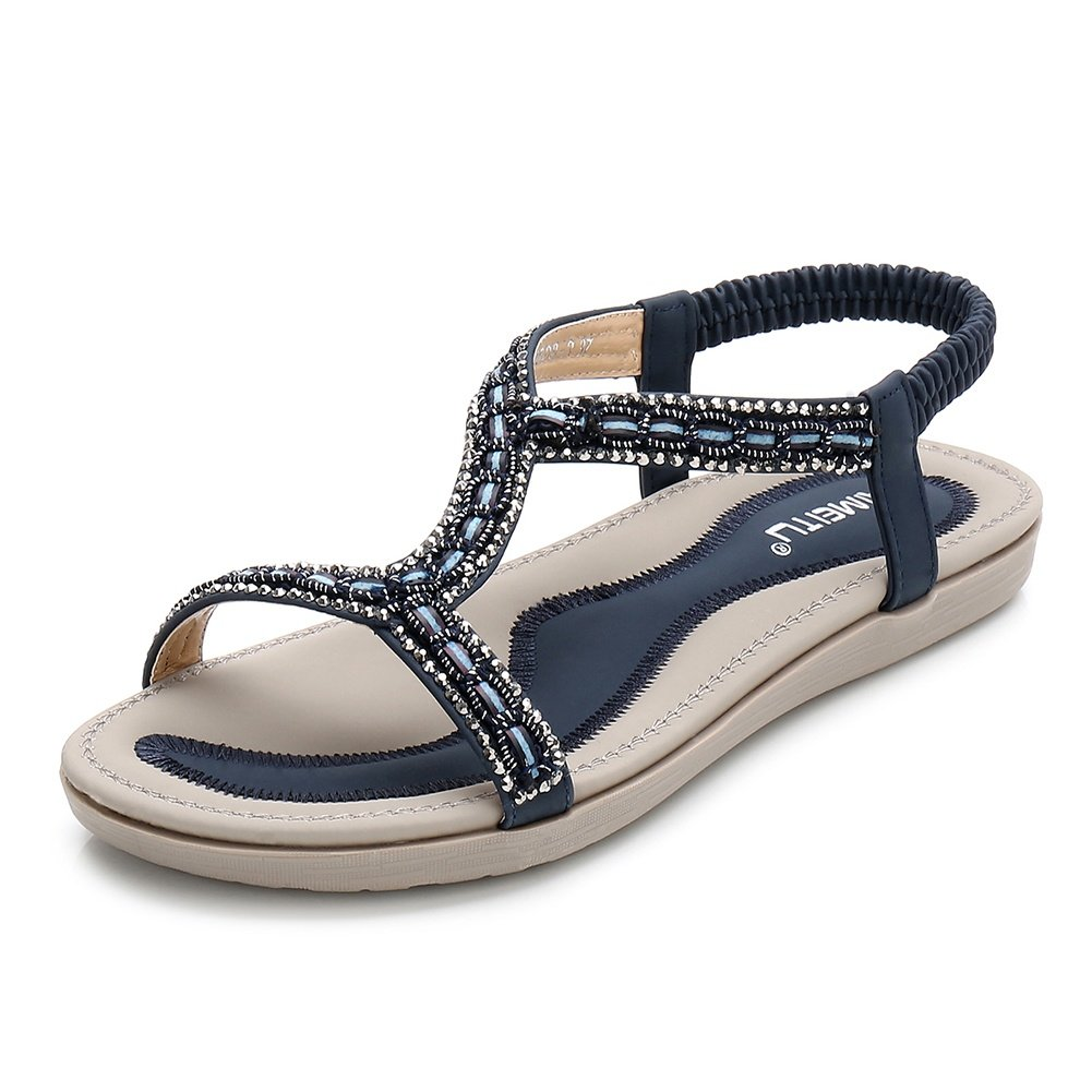 Meeshine Women's Summer Beach Flat Sandals Bohemia Beaded T-Strap Rhinestone Slip on Sandals Shoes(8.5 B(M) US,Blue 01)