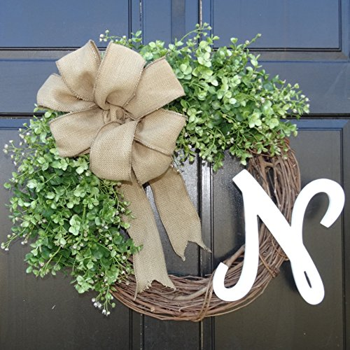 Personalized Faux Eucalyptus Greenery Grapevine Monogram Wreath with Initial and Burlap Bow for Summer Spring Year Round Front Door Decor