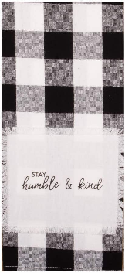 """Home Collections by Raghu Buffalo Check Stay Humble & Kind Towel, 18"""" x 28"""", Black, White"""