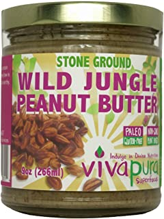 product image for Wild Jungle Peanut Butter, Stone Ground, Raw, Organic, 9 oz, Glass Jar