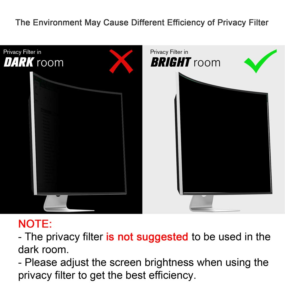 Ovimir 24 Inch (Diagonally Measured) Computer Privacy Screen Filter, [16:10 Aspect Ratio] for Widescreen Monitors Anti-Glare - Anti-Scratch Screen Protector by Ovimir (Image #3)