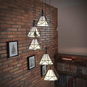 Candelabro Lámpara de metro Escalera Jaula Creativo Diamante Jaula de hierro forjado Retro: Amazon.es: Iluminación