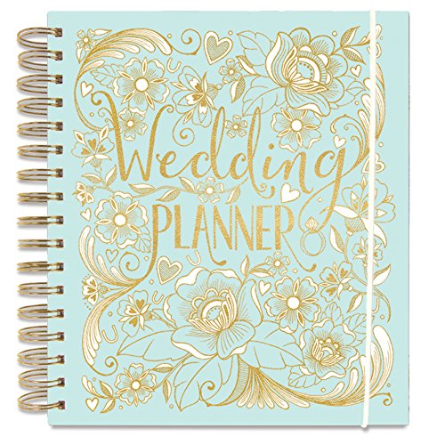 -[ Wedding Planner Set - Large Wedding Organiser and Matching Bride's Notebook - Duck Egg Blue - Pe