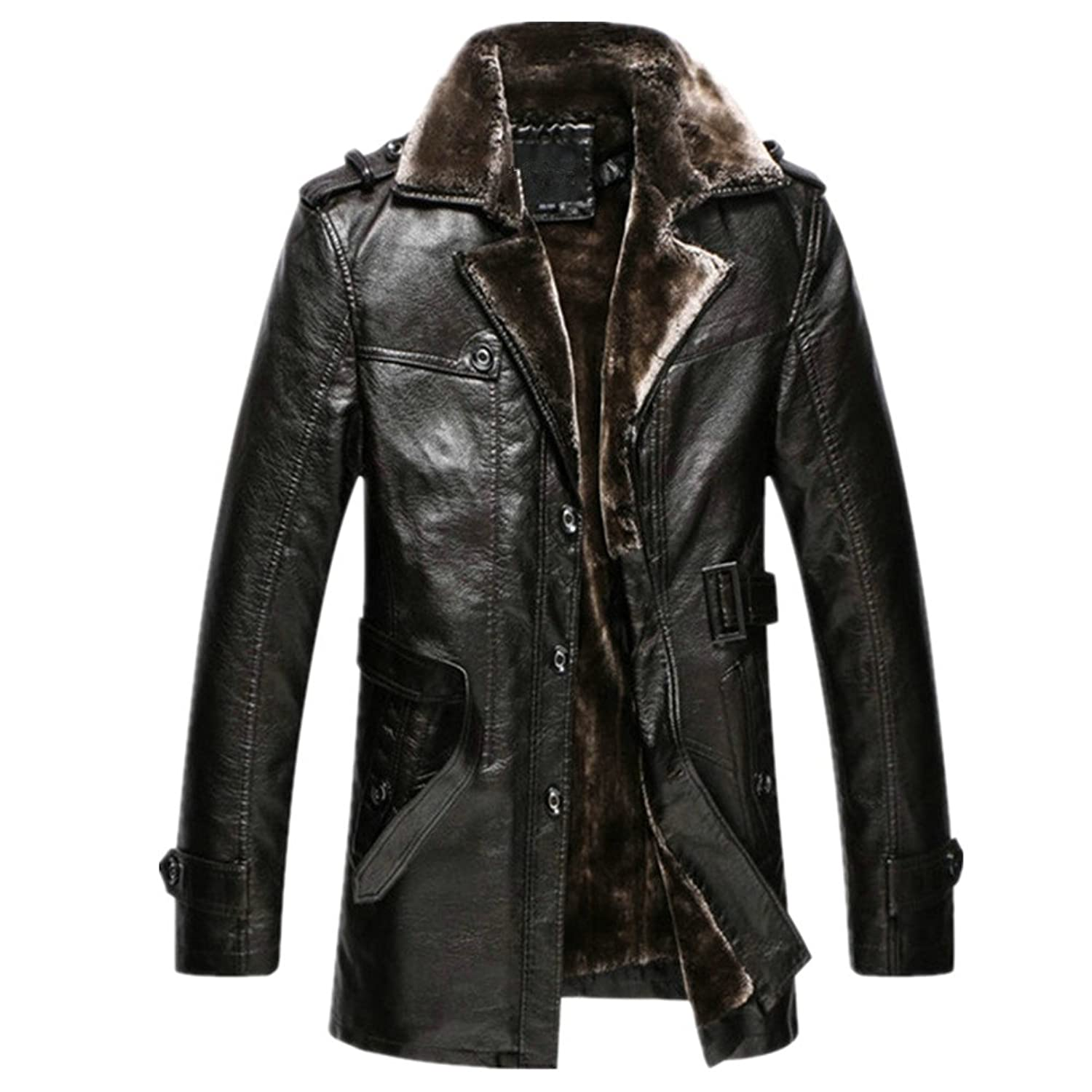 Oyvind Norberg Herren Winter One Suit Fur Collar Leather warme Mantel