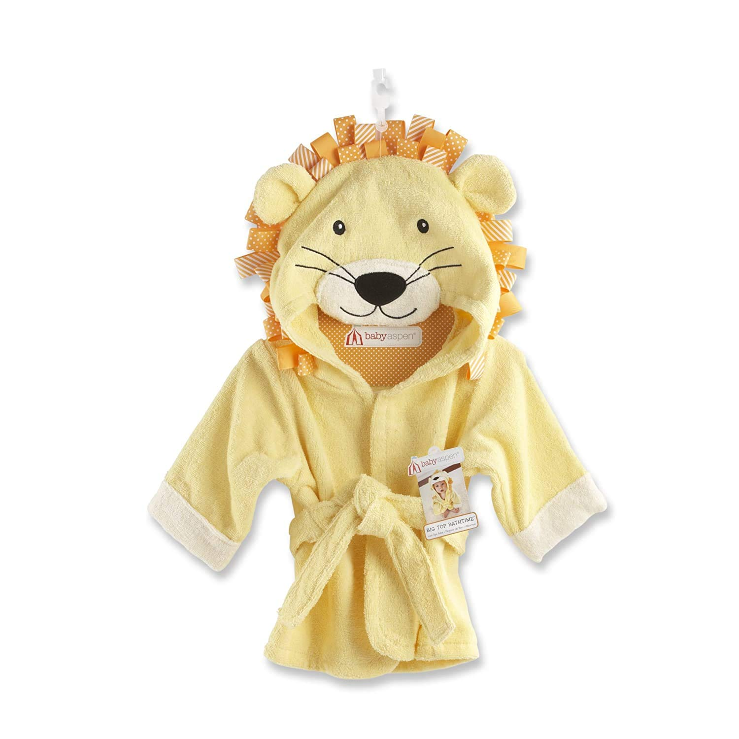 Baby Aspen, Big Top Bath Time Lion Hooded Spa Robe, Yellow, 7-7
