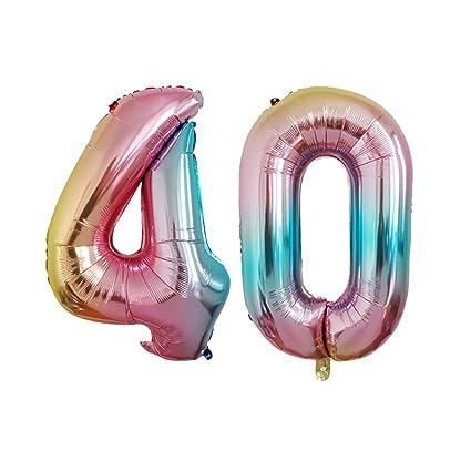 Amosfun 2 Unids Número 40 Globos Foil Número Helio ...
