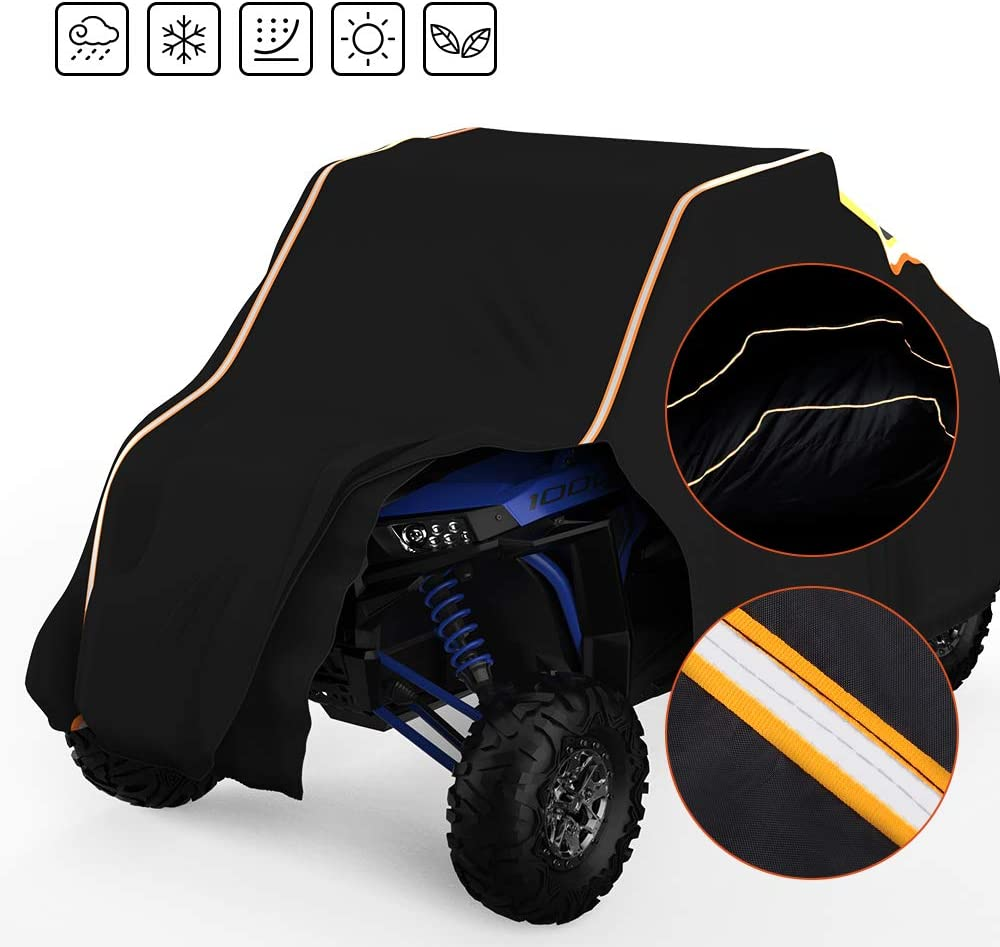 UTV Cover RZR Storage Cover Protect Your SxS Vehicle from Rain, Snow, Dirt, Debris and Damaging UV Rays-Reflective Strip for Increased Visibility