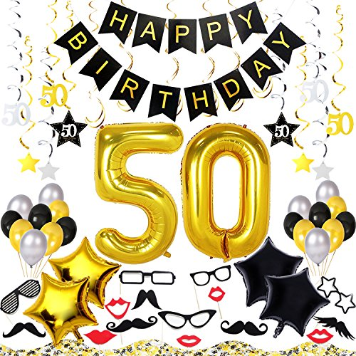 50th Birthday Decorations Kit 70 Pieces – Happy Birthday Banner, 40-Inch 50 Gold balloons, Sparkling Hanging Swirls, Photo Booth Props, Confetti for Table Decorations, Birthday Plan Checklist (Decorations Gold 50th Birthday)