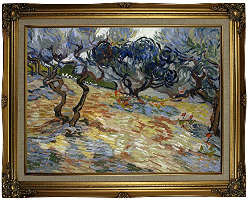 Historic Art Gallery Olive Trees 1889 by Vincent Van Gogh Framed Canvas Print 18