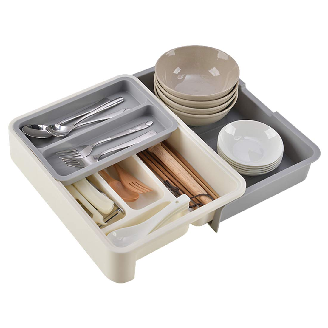 Sliding 2-Tier Plastic Drawer Organizer for Utensils,White Extendable Plastic Cutlery Tray with Compartments,Kitchen Drawer Dividers