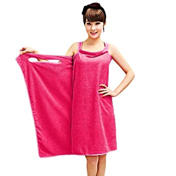 Beach Towel Wearable Bath Towels Robe Soft Button Wrap Skirt Absorbent Bath Gown
