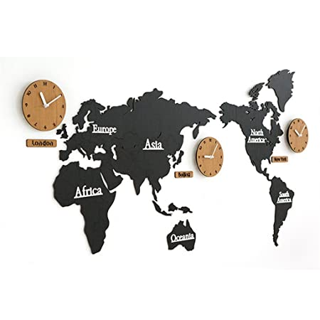Yff wall clock nordic creative world map wood wall clocksuper yff wall clock nordic creative world map wood wall clocksuper large silent wall gumiabroncs Image collections