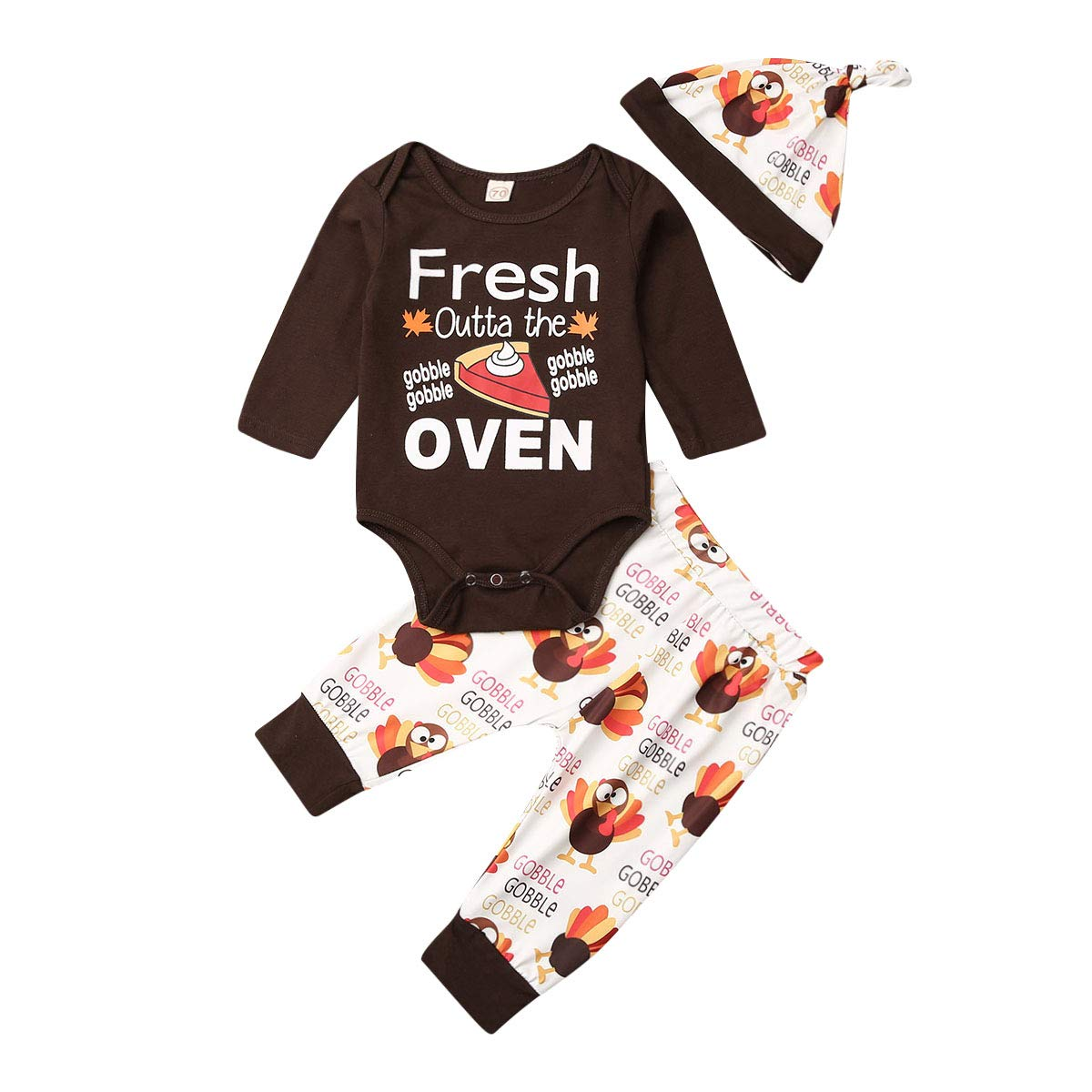 Newborn Baby Boy Girl Thanksgiving Fresh Outta The Oven Long Sleeve Romper+Turkey Pants+Hat 3Pcs Outfit Set