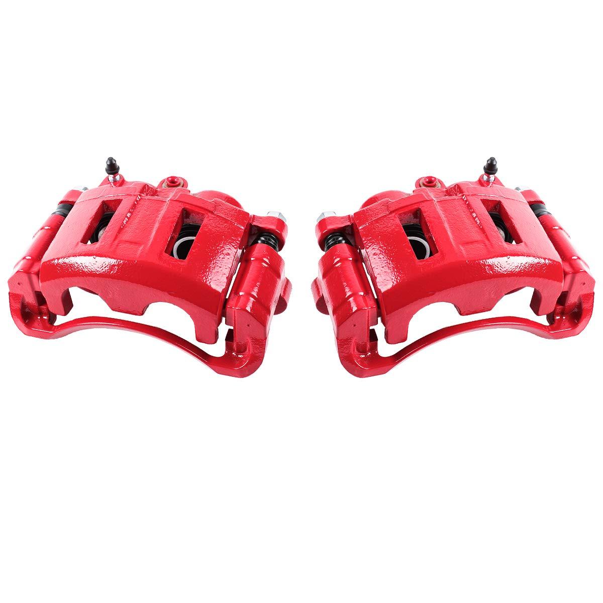Callahan CCK03824 [2] FRONT Premium Semi-Loaded Red Coated Caliper Pair + Hardware Brake Kit Callahan Brake Parts