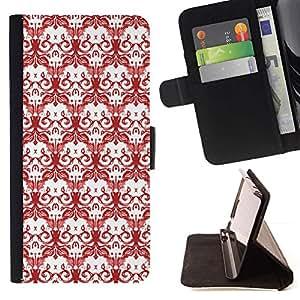 Momo Phone Case / Flip Funda de Cuero Case Cover - Calaveras Rojo Blanco Dibujo Wallpaper Muerte - Samsung Galaxy E5 E500