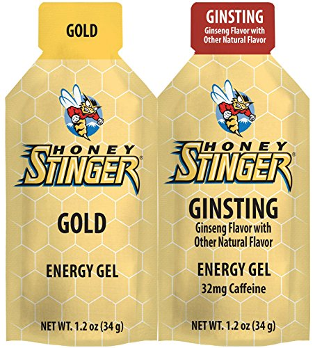 Honey Stinger Organic Energy Gels 2-Flavor Variety: 1 x Classic Gold, 1 x Ginsting - Caffeinated (1.1 oz each, 2 Count)