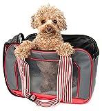 PET LIFE 'Candy Cane' striped Fashion Designer Travel Pet Dog Carrier, Medium, Grey