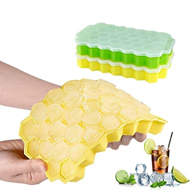 Farielyn-X Ice Cube Trays,2 Pack Food Grade Silicone Rubber Flexible and BPA Free 74 Cubes Ice Trays with Lid Stackable Easy Release Mini Cocktail Whiskey Ice Cube Mold Storage Containers-Green&Yellow