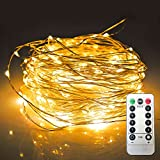 JMEXSUSS 8 Modes Remote Control 100 LED 32.8ft Battery Operated Waterproof Dimmable Fairy String Copper Wire Lights for Christmas, Bedroom, Patio, Wedding, Party, Warm White