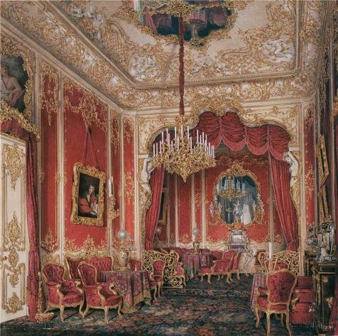 Oil Painting 'Hau Edward Petrovich,Interiors Of The Winter Palace,The Boudoir Of Empress Maria Alexandrovna,1807-1887' Printing On High Quality Polyster Canvas , 24x24 Inch / 61x61 Cm ,the Best Bar Decoration And Home Decoration And Gifts Is This Vivid Art Decorative Canvas Prints