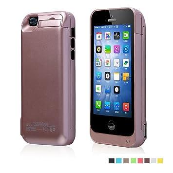 Funda Batería Extra 4200Mah para iPhone 5/5S/5C Cargador Batería External Recargable Carcasa Protectora de Noza tec - Rose Gold